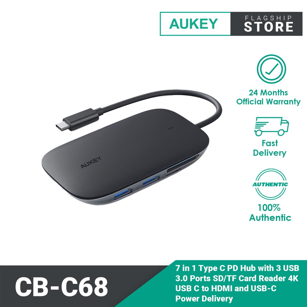 Aukey CB-C68 7 in 1 Type C PD Hub with 3 USB 3.0 Ports, SD Card Reader, 4K HDMI
