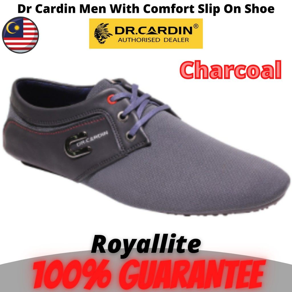 Dr Cardin Men Faux Leather With Comfort Slip On Shoe (60933) Black & Charcoal