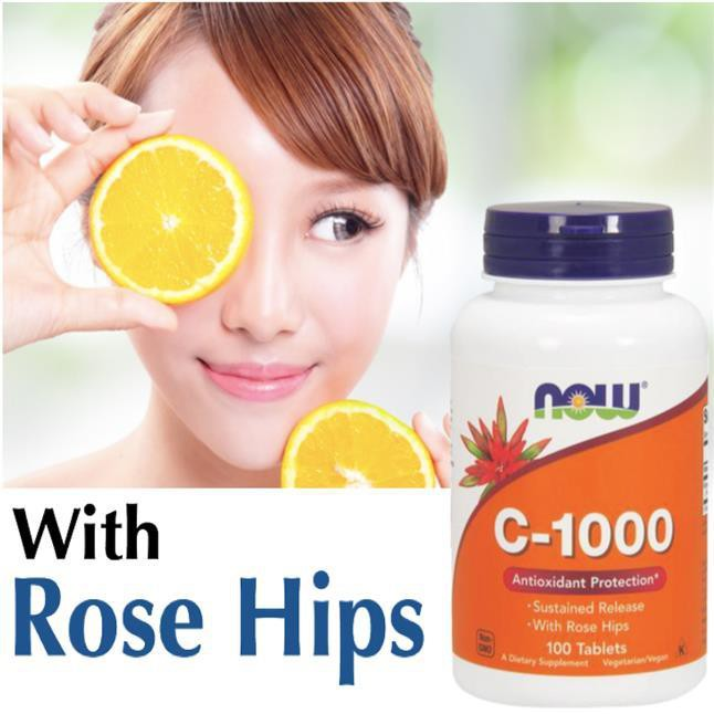 Vitamin C-1000 with Rose Hips 100% Vegetarian 100 Tablets Rosehips (Made in  USA)
