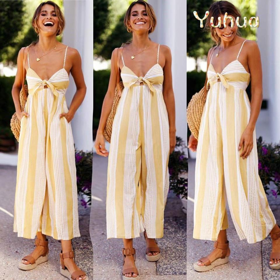 8550e5adf6f78 Yuhua Women sexy striped long pants jumpsuits off shoulder summer loose  rompers