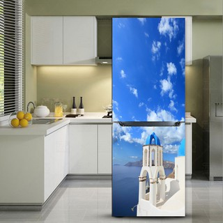 3d Diy Creative Aegean Sea Refrigerator Sticker Fridge Door Cover Wallpaper