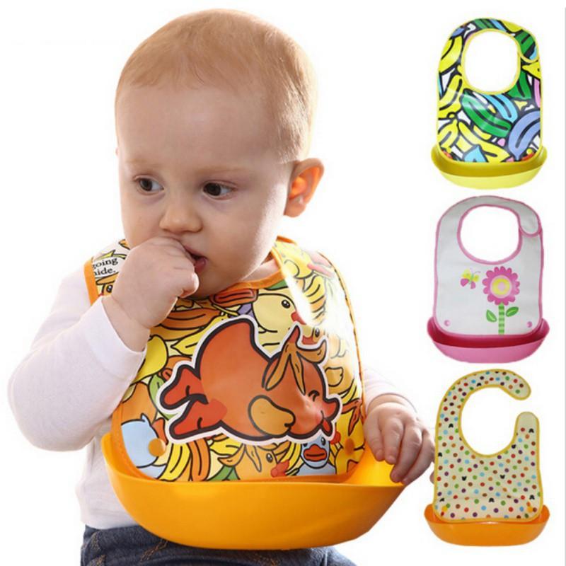 Baby Kids Silicon Feeding Bibs Waterproof Saliva Pocket Cartoon Bib Bandana