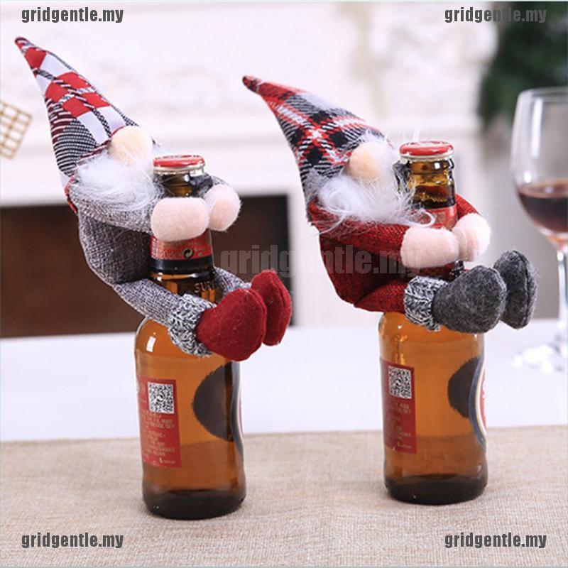 [Gri] Christmas Wine Bottle Cover Clothes Xmas Santa Snowman Wine Bottle Decor Party [MY]