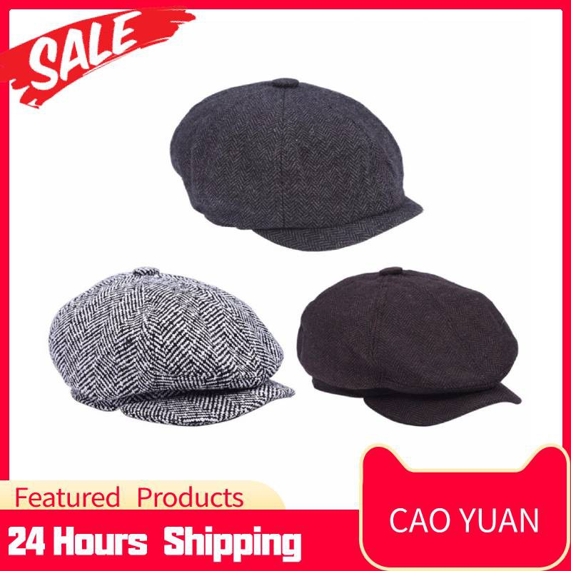 Fashionable Herringbone Men Warm Cotton Duckbill Hat Newsboy Cabbie Ivy Cap