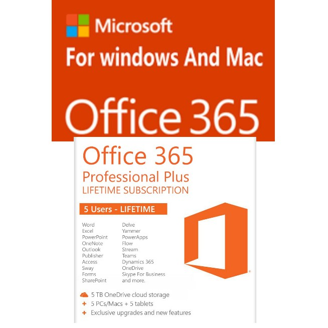 LIFETIME Microsoft Office 365 +5TB STORAGE(5devices Mac/windows/IOS/Android)