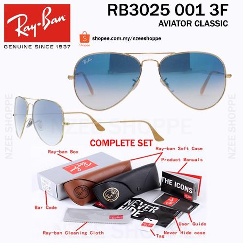 80c768cd4973f8 Original RayBan Aviator Shooter RB3138 002 Black Green   Shopee Malaysia