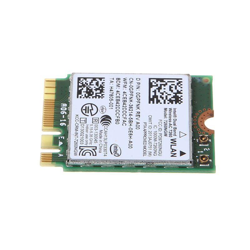Dell Intel Dual Band Wireless-AC 7260 7260NGW NGFF M 2 Bluetooth WiFi  Network Card