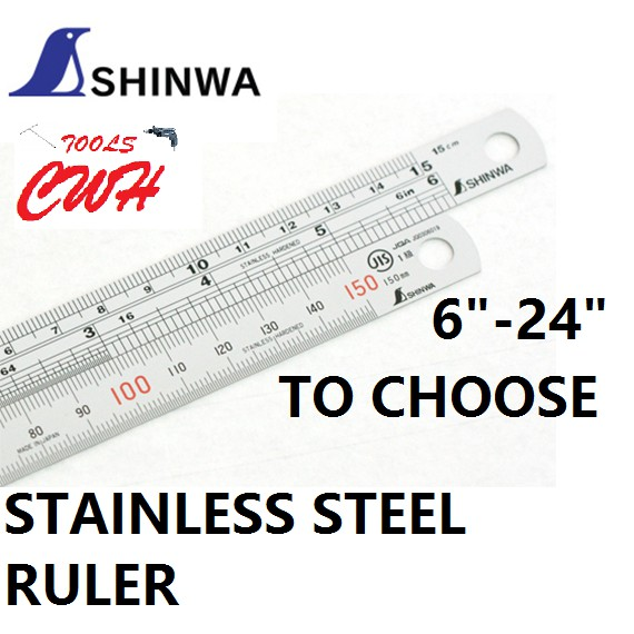 SHINWA JAPAN STAINLESS STEEL RULER RULE ROUNDED END MEASUREMENT TOOLS MEASURING