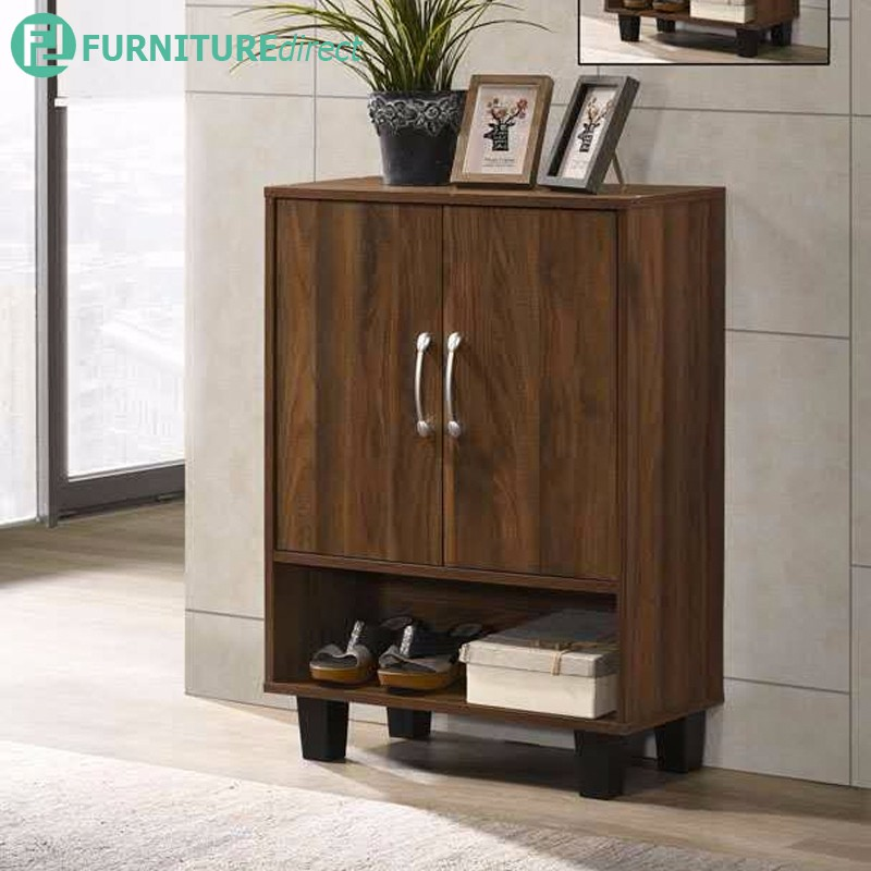 DS6266 SHOE CABINET WITH SLIPPER COMPARTMENT IN WALNUT COLOR