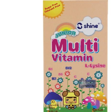 Shine Junior Multivitamin L-Lysine 100\'s (Tutti Fruitti Flavour)