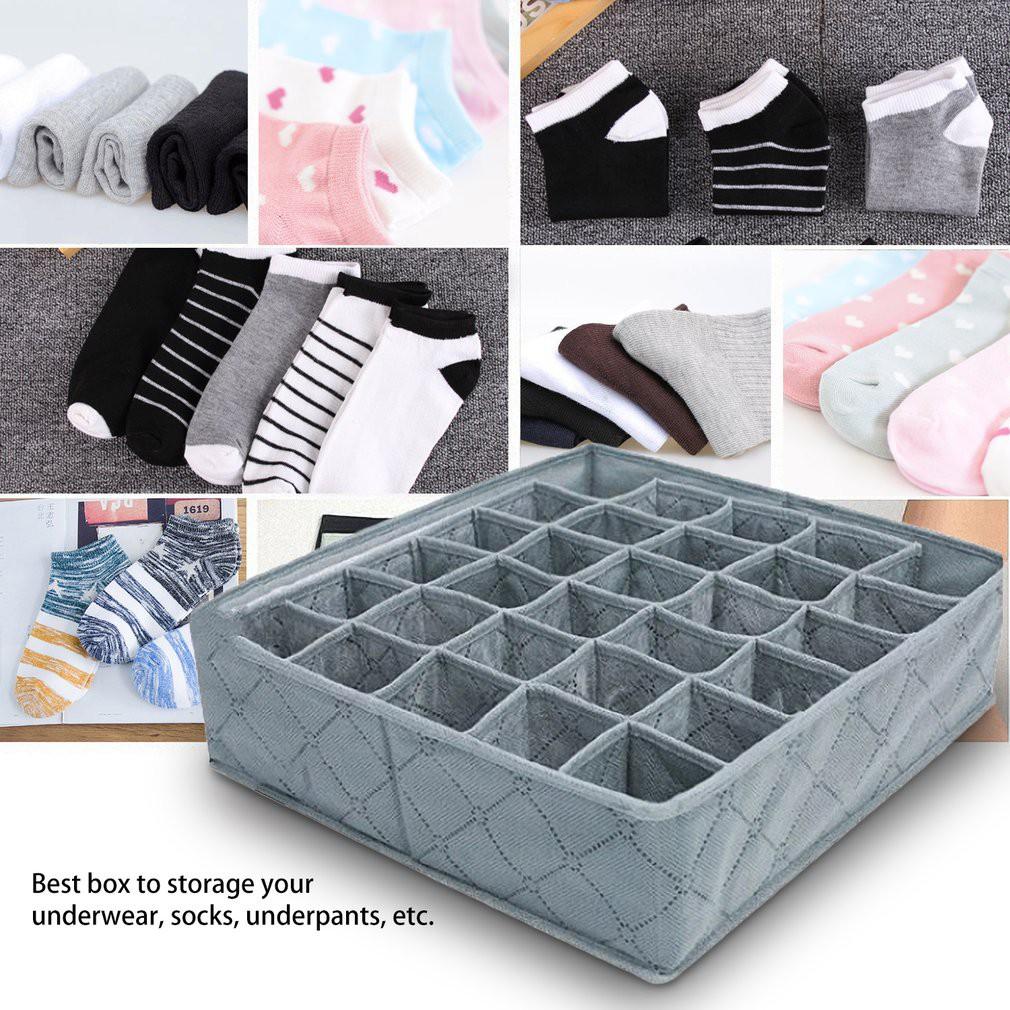 30 Cells Bamboo Charcoal Underwear Ties Sock Storage Drawer Closet Organizer Box