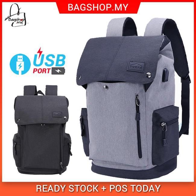 ca15f60c9a Unisex Urban Grey   Black USB Bag College Office Laptop Backpack mc468 YF1
