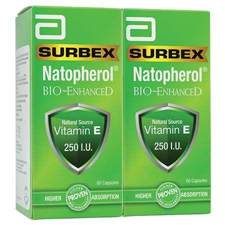 Surbex Natopherol Bio- enhanced Vitamin E 250IU 60\'s / 2x60\'s