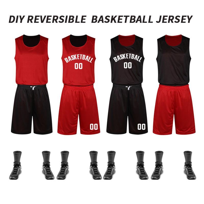 4b8530df7 Reversible Men Basketball Jerseys Double Side Sport Team Training Uniform  Shirts