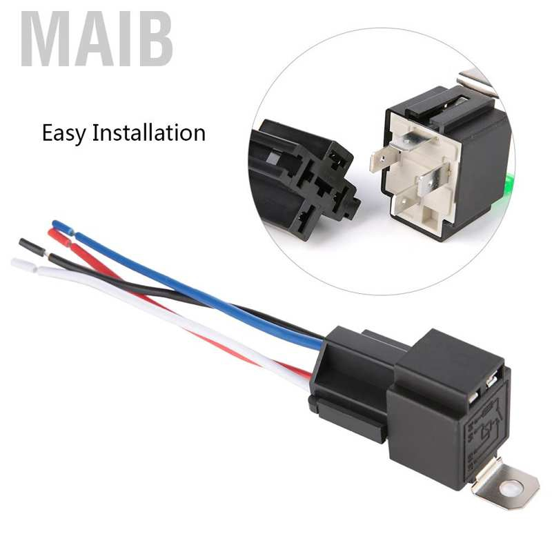 Car Relay Switch Harness 12V 4 PIN SPST 30AMP Fuse Holder 18AWG ...
