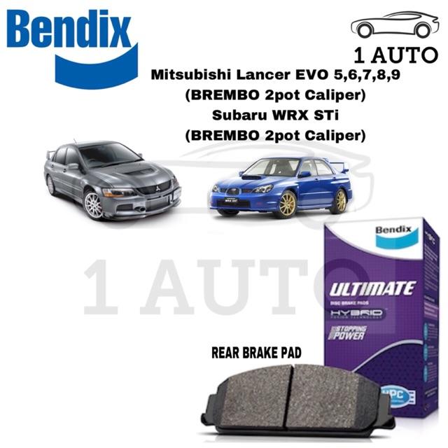 BENDIX ULTIMATE REAR BRAKE PAD for BREMBO 2 POT CALIPER WRX STi EVO  5,6,7,8,9