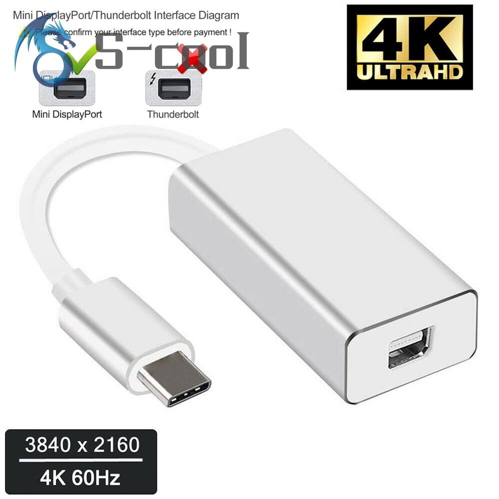 Typc-C USB3 1 to Mini DisplayPort Converter 4K 60HZ Mini DP Adapter for  MacBook