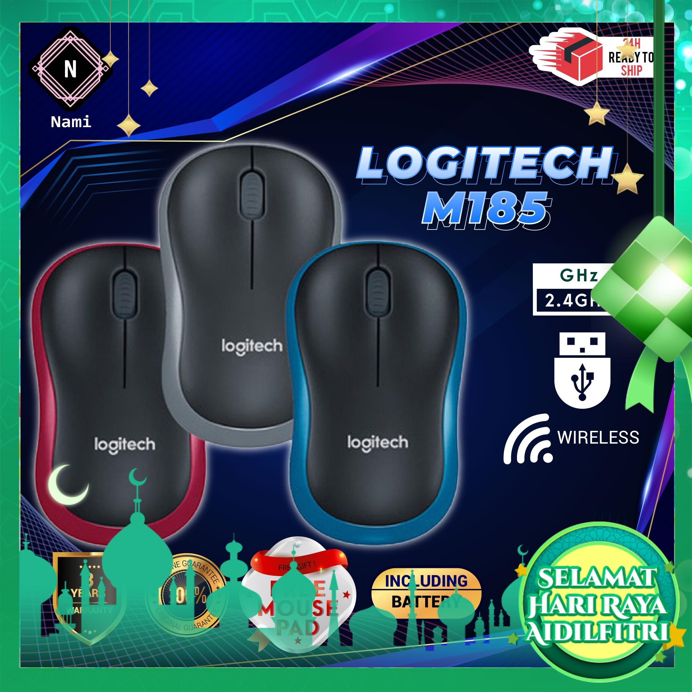 Logitech M185 Wireless Mouse - Original (Double Bubble Wrap Packing + Fragile Sticker)