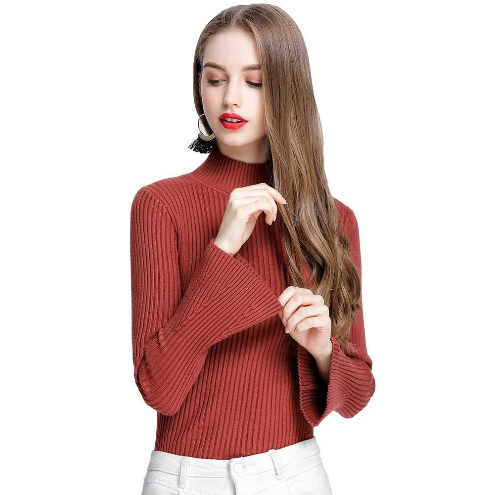 New Fashion Winter Women Ribbed Knit Sweater Flare Sleeves Stand Collar Knitted Pullover Knitwear (Red)