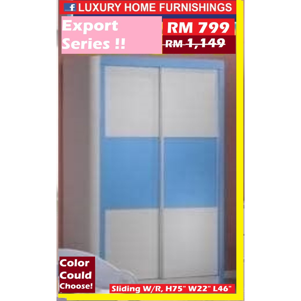 "SLIDING DOORS CUPBOARD, blue color, 46"", Children Bed Room Set collections, EXPORT SERIES"