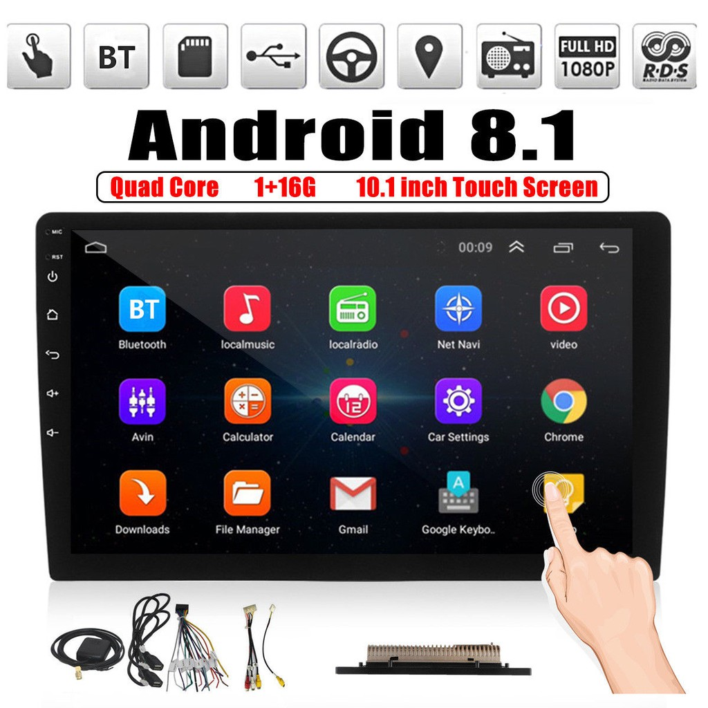 10 1'' Android 8 1 Car Stereo 2DIN WIFI GPS Nav Quad Core Radio Video MP5  Player