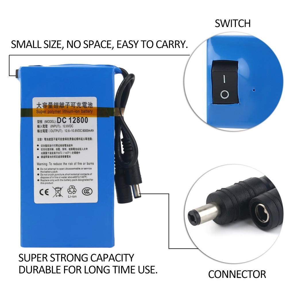 Vander life DC 12v8000mah lithium ion super rechargeable +Eu charging head