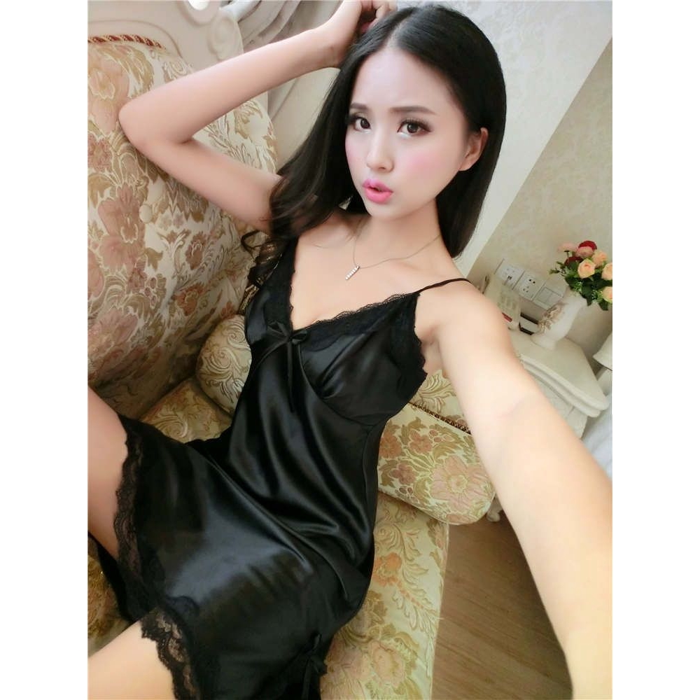 FREE SIZE SMOOTH ICE SILK SEXY LINGERIE / BABYDOLL (BLACK)