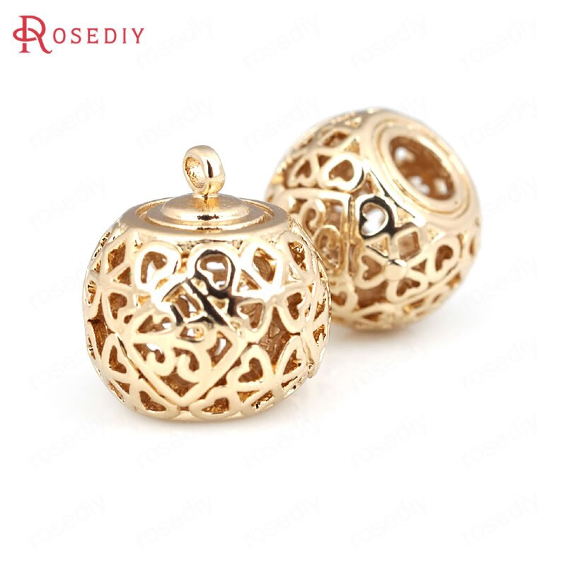 30875 4PCS 13x19MM 24K Gold Color Brass Hollow Pendants Jewelry Findings