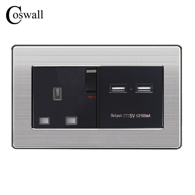 Coswall Wall Power Socket 13a Uk Standard Switched Outlet 2.1a Dual Usb Fast Charger Port Led Indicator Electrical Equipments & Supplies Electrical Sockets