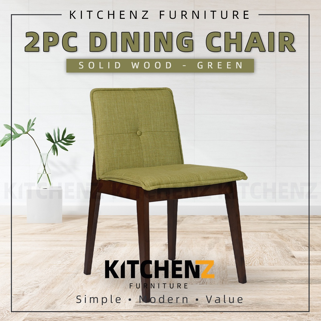 (Clearance Stock & Ready Stock) KitchenZ 2PCS Dining Chair with Fabric / Solid Wood / Green - SSHDC-1609-GN-WN