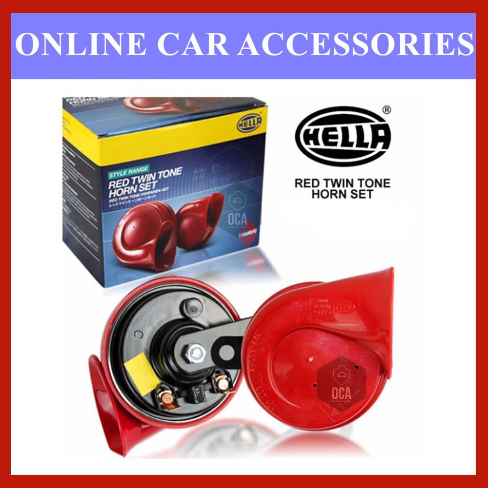 Hella Twin Tone Horn (Red) - Sets For 2 12V Ute 4x4 4WD SUV
