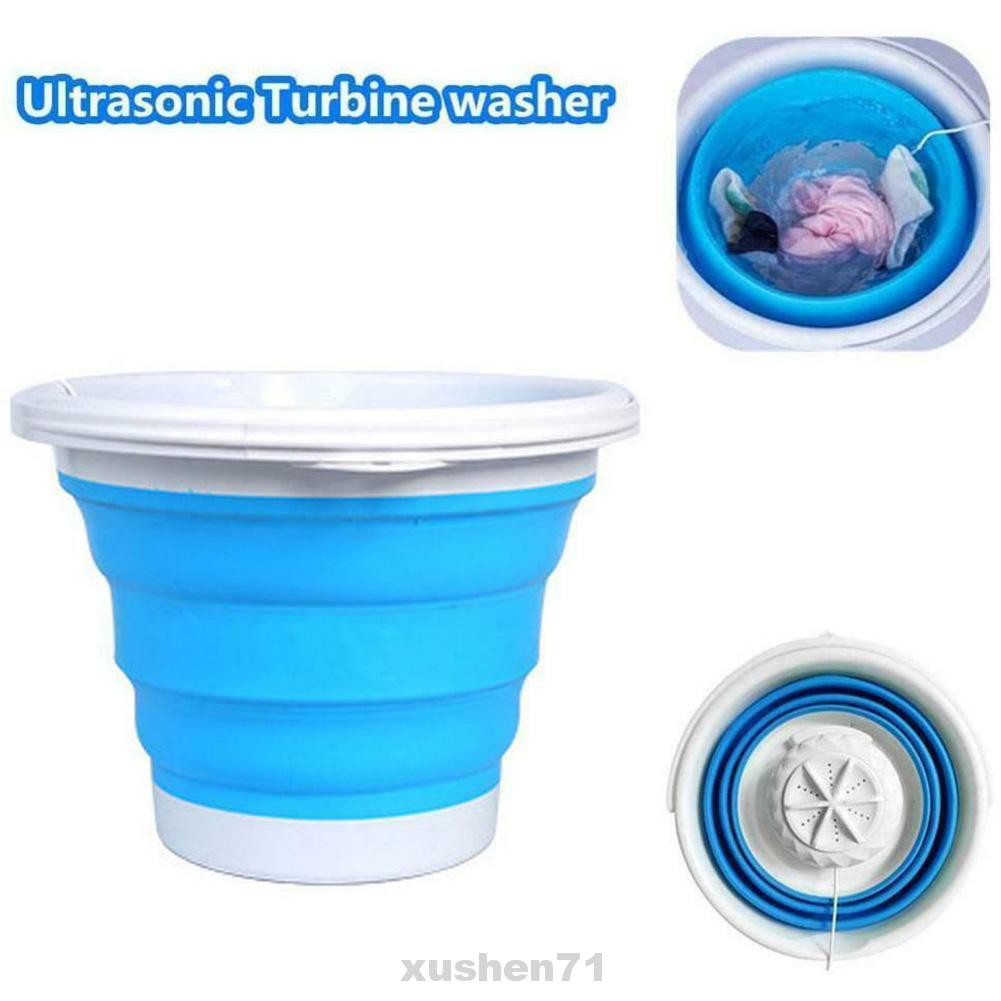 【US IN Stock】Portable Washing Machine Folding Ultrasonic Turbine Washer Blue Mini Washing Machine for Camping Dorms Business Trip College Rooms