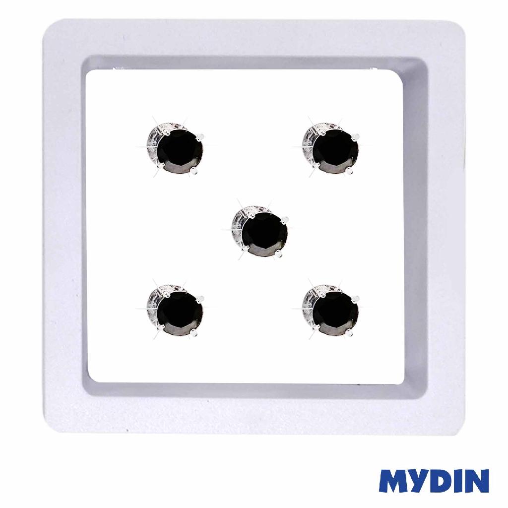 Armaan Button Zircon Black Stone SATCCD-10 (7mm x 5pcs) #Raya
