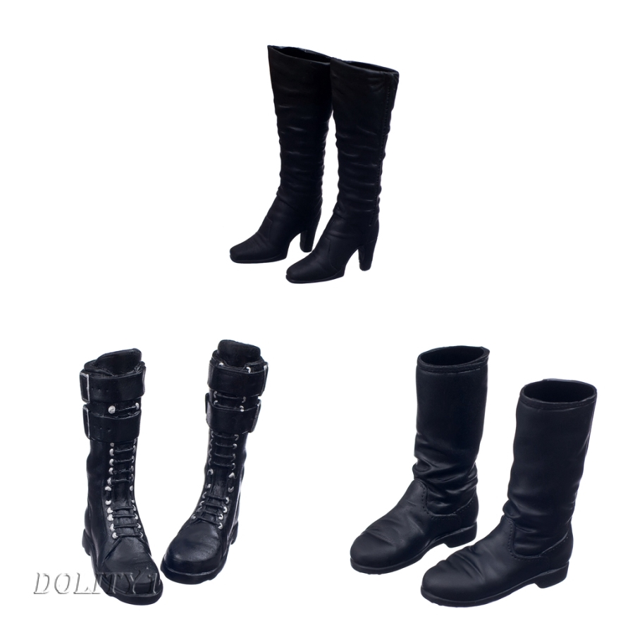 1//6 Scale for 12 Inch Action Figure Hot Doll Mid-heeled Ankle Boots Shoes