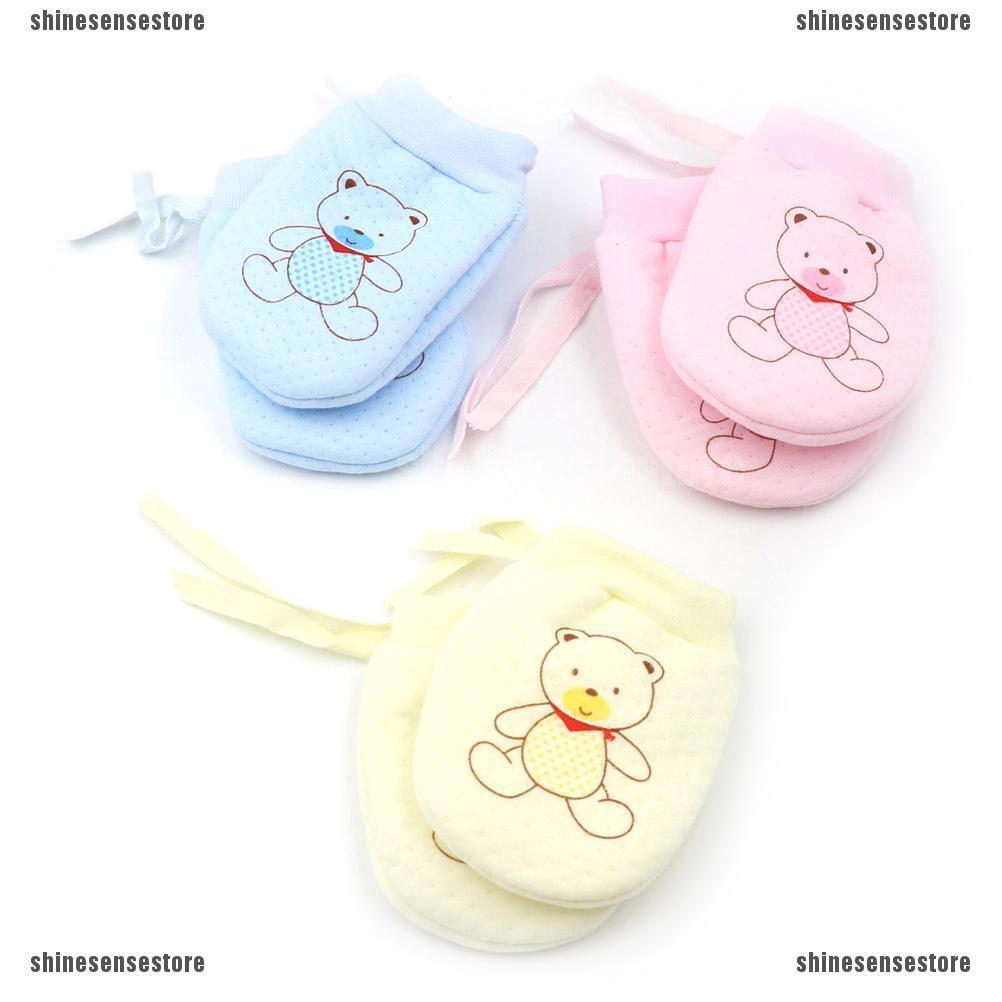 Newborn Anti Scratch Gloves Mittens Baby Infant 4 Pairs Soft Cartoon Cotton