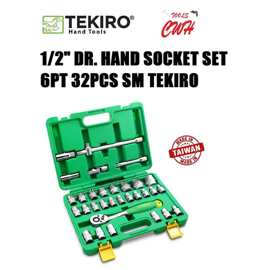 "TEKIRO TAIWAN SC-SE0618 1/2"" DR. HAND SOCKET SET 6POINT (8MM-32MM) 32PCS SM TEKIRO MADE IN TAIWAN HAND SOCKET SET 6POINT"