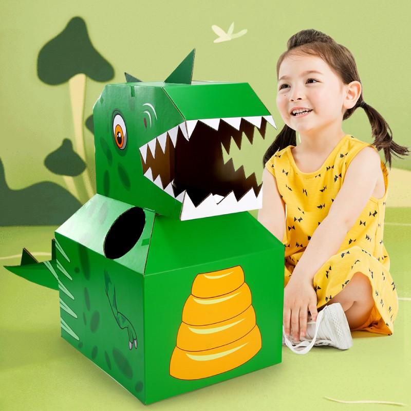 Children s dinosaur toy carton cardboard paper box shell wearable super  large tyrannosaurus simulation animal model1   Shopee Malaysia