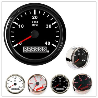 Tachometer for boat motor 85mm Round 0-4000RPM Hour meter