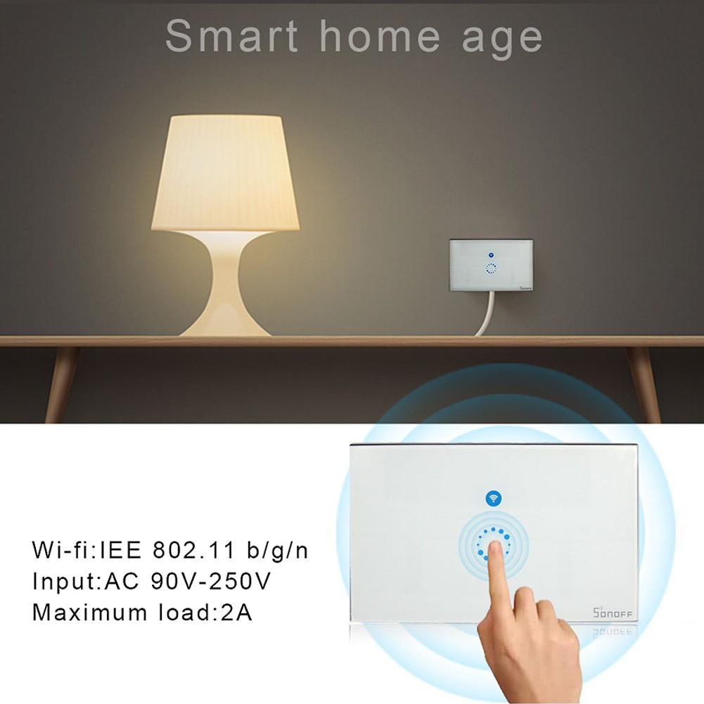 Sonoff EU plug Wifi wireless touch glass panel touch LED