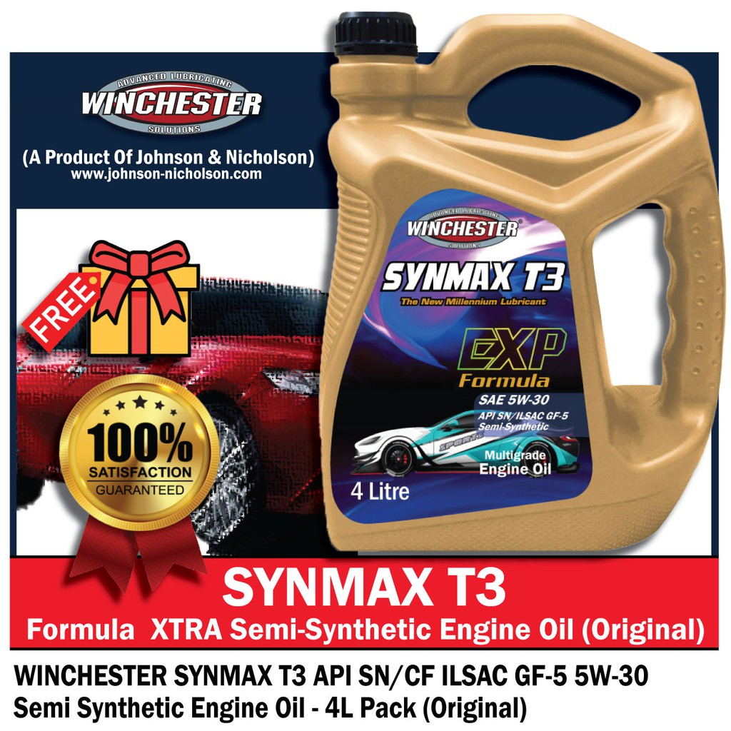 Winchester Synmax T3 5w30 4L Semi Synthetic SN Engine Oil Car Lubricant