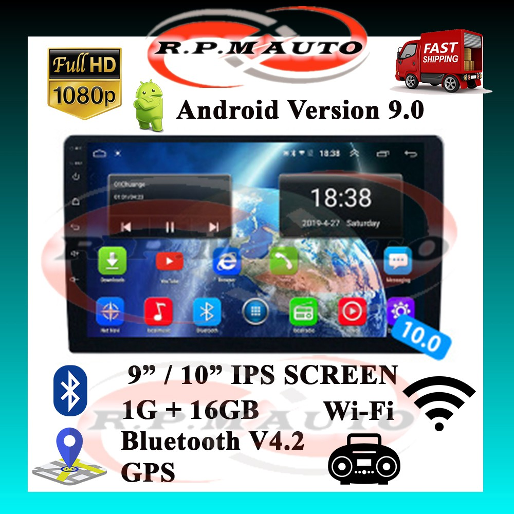 """Car Android Player 9"""" 10"""" 1GB RAM+16GB Full HD IPS double din player kereta android player Best Quality"""