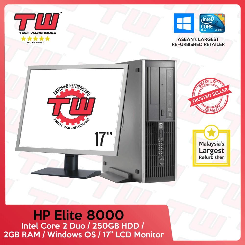 HP 8000 Core 2 Duo Desktop PC (Refurbished) + Windows OS + 17