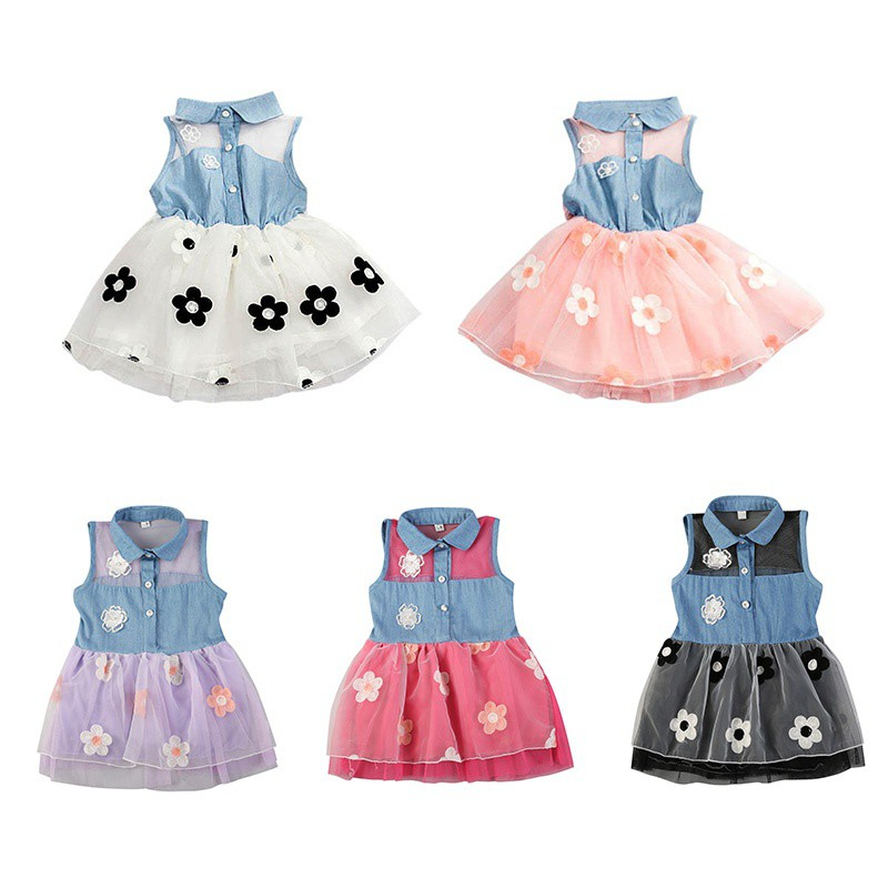 a873392f7839a ProductImage. ProductImage. Ready Stock! Fashion Baby Girls Lace Denim  Shirt Tulle Princess Tutu Dress