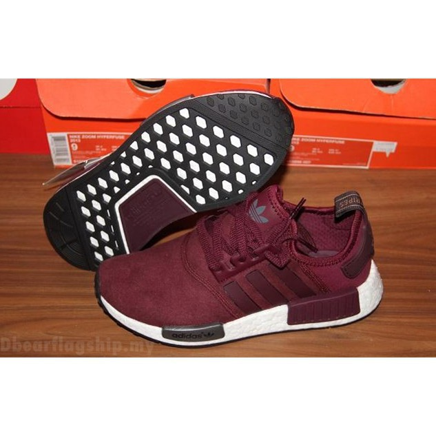 993809a5f23105  ready stock  Adidas NMD Suede Pack wine red nmd boost men shoes SIZE EUR36-45