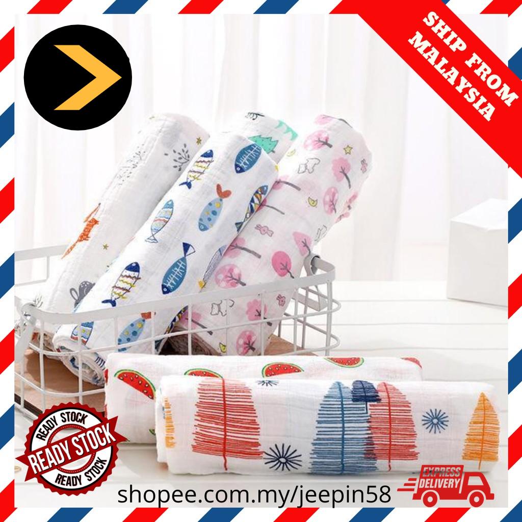  NEW STOCK  Newborn Infant Baby Muslin Swaddle Soft Cloth Blanket Kain Lampin Kain Selimut Kain Bedung 120cm x 100cm
