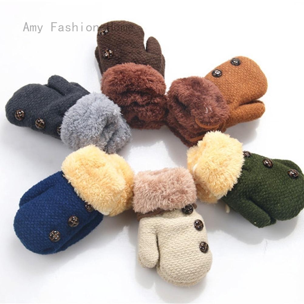 Toddler Newborn Baby Girls Boys Acrylic Mittens Half Finger Fingerless Solid Winter Warm Gloves