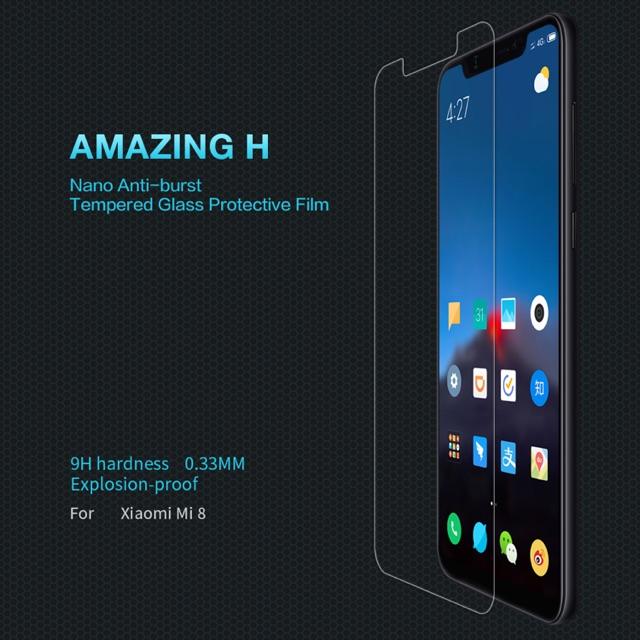 Nillkin ฟิล์มกระจกนิรภัย Xiaomi Mi8 รุ่น Among H 0.33mm. 9H hardness Explosion-