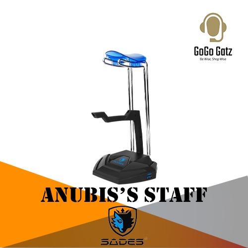 {SD-ANUBISSTAFF-BLUE} Sades Anubis Staff Multi-Functional Headset Stand (Blue)