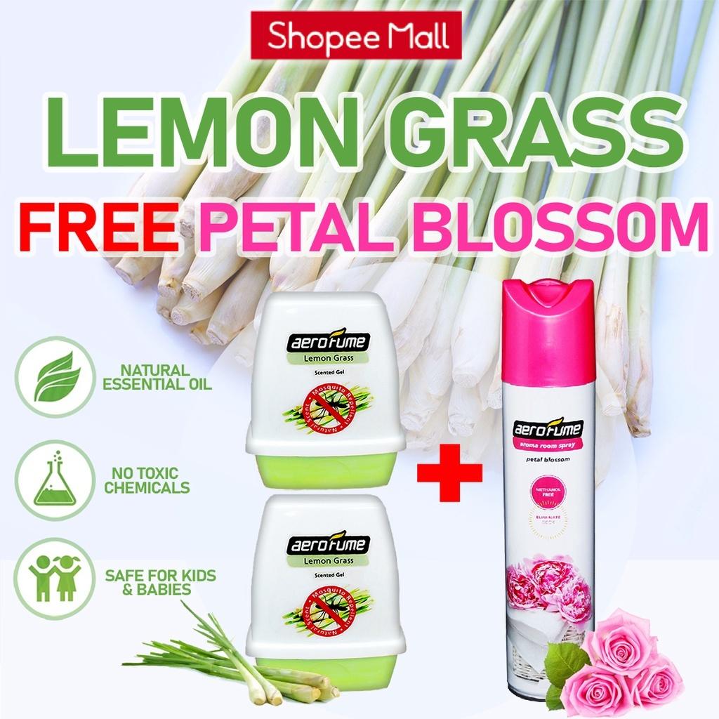 Petal Blossom Aroma Spray (1 Pcs) + Lemon Grass Scented Gel (2 Pcs) [Bundle] Fragrance