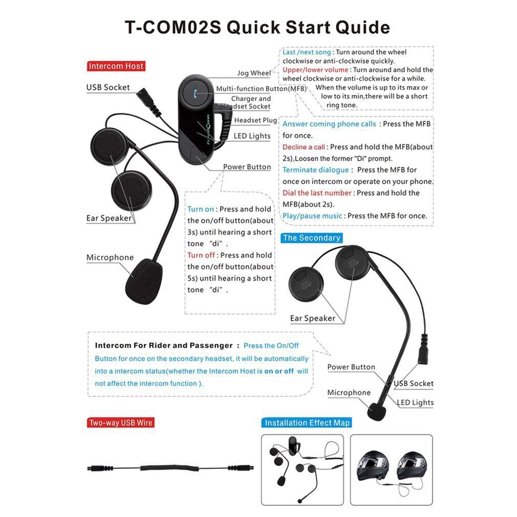 T Com02s Bluetooth Helmet Intercom Waterproof Hand Free Headphone Usb Headset With Microphone Wiring Diagram Interphone Shopee Malaysia